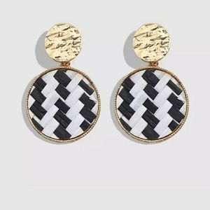 Rattan houndstooth earrings